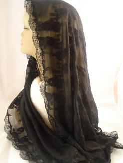Long Black Embroidered Veil