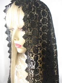 Long Black Chapel Veil